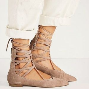 Jeffrey Campbell Suede Shay Atrium Lace-Up Flats